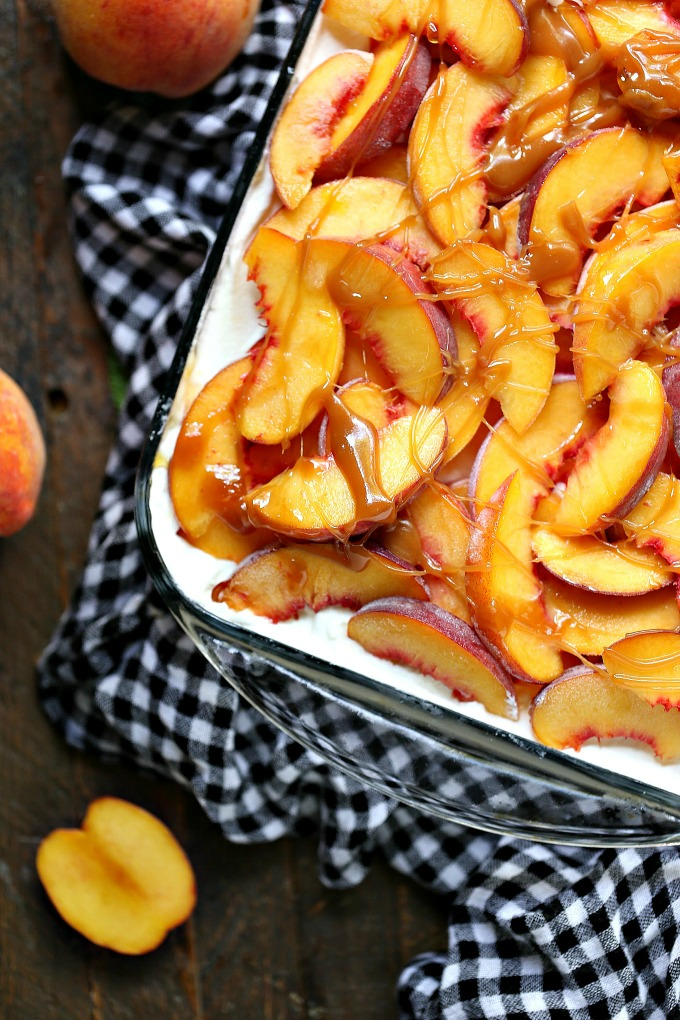 Peach Icebox Cake served in a glass baking dish.