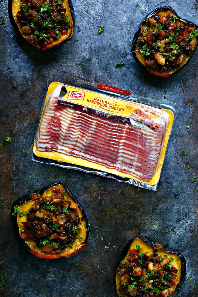 Stuffed Acorn Squash Recipe using Oscar Mayer Bacon!!