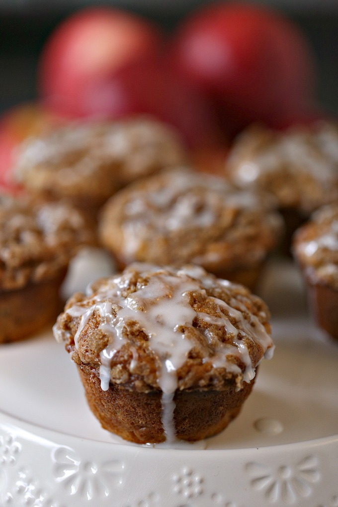 Cookie Butter Apple Cinnamon Muffins covered with Streusel Topping pictured with SweeTango apples!