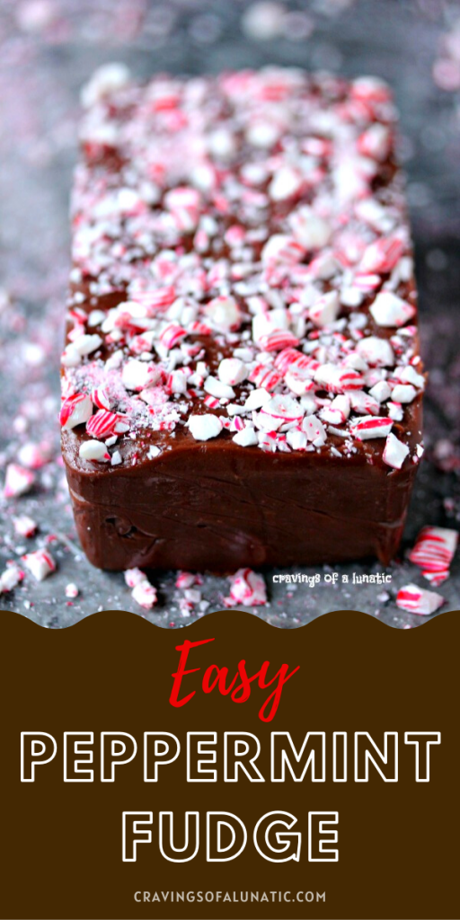 Easy Chocolate Peppermint Fudge on a grey counter with crushed peppermint all around it.