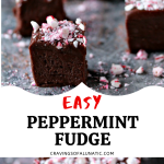 Easy Chocolate Peppermint Fudge Pinterest collage image featuring two photos of the finished fudge on a grey counter with crushed peppermints scattered around it.