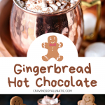 Gingerbread Hot Chocolate collage image featuring two photos of the finished gingerbread hot chocolate.