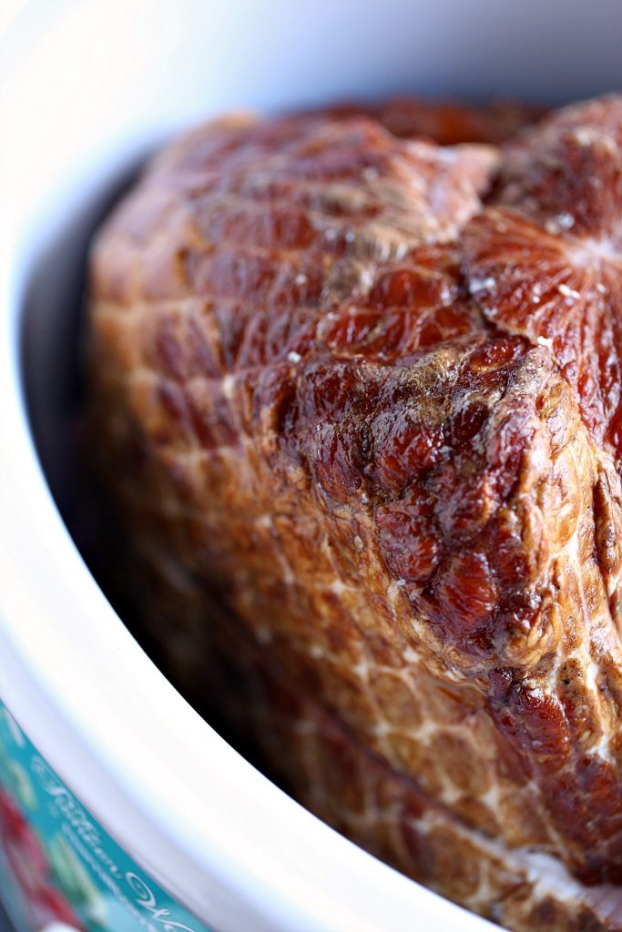 Slow Cooker Ham with Honey Mustard Glaze placed in a slow cooker.