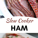 Slow Cooker Ham with Honey Mustard Glaze in a white crock pot