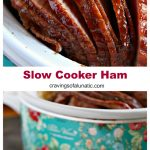 Slow cooker ham cooked, sliced and ready to serve.