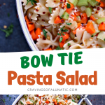 Bow tie pasta salad served in a white bowl