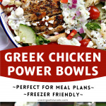 Greek Chicken Orzo Power Bowls collage image featuring two photos of the finished recipe.