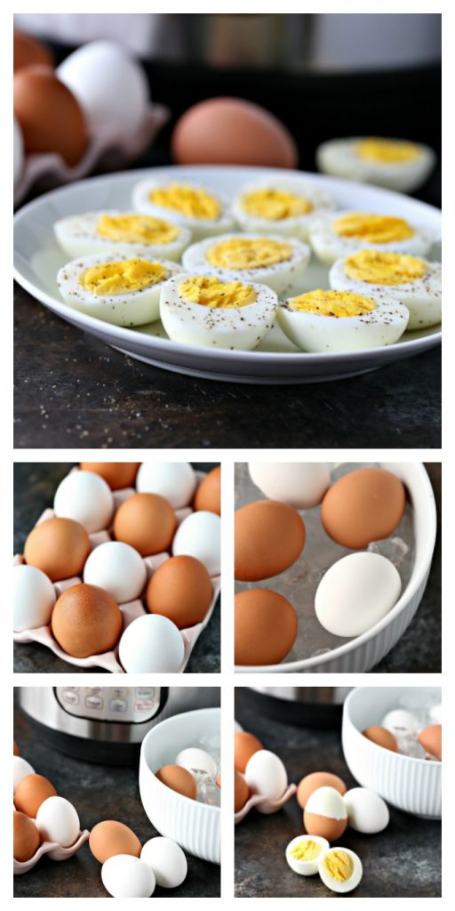 Collage image of instant pot hard boiled eggs. Top image is cooked eggs cut in half and sprinkled with salt and pepper on a white plate. Second image is eggs in a pink ceramic egg carton. Third image is eggs being cooled in an ice bath in a white bowl. Fourth image is cooked eggs on a counter with ice bath bowl, egg carton and instant pot in the background. Fifth photo is the same as the fourth image but a slightly different angle with less instant pot visible in the photo.