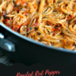 Roasted Red Pepper and Chipotle Pepper in Adobo Angel Hair Pasta in a pan.