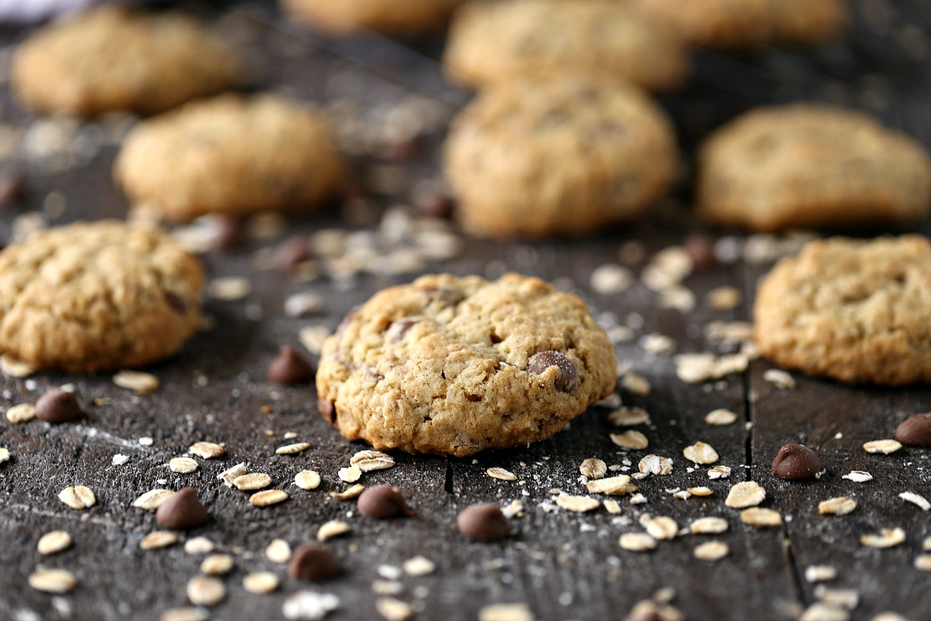 Oatmeal Chocolate Chip Cookies on a dark counter with ingredients scattered around.