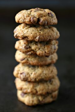 Oatmeal Chocolate Chip Cookies stacked high