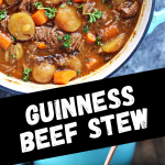 Guinness Beef Stew collage image featuring two photos of the finished stew being served